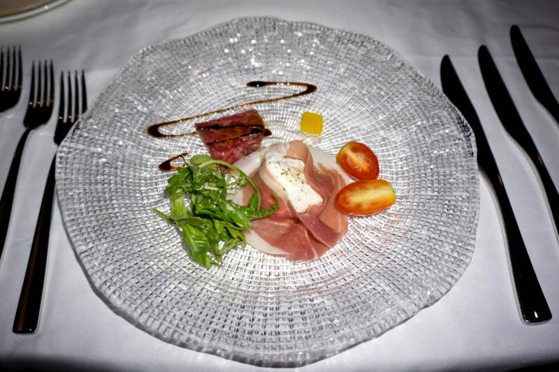 WTFSG_christmas-private-dining-ristorante-takada_Burrata-Cheese_Parma-ham_Kagoshima-A5-Wagyu-Carpaccio_Rucola-Parmigiano