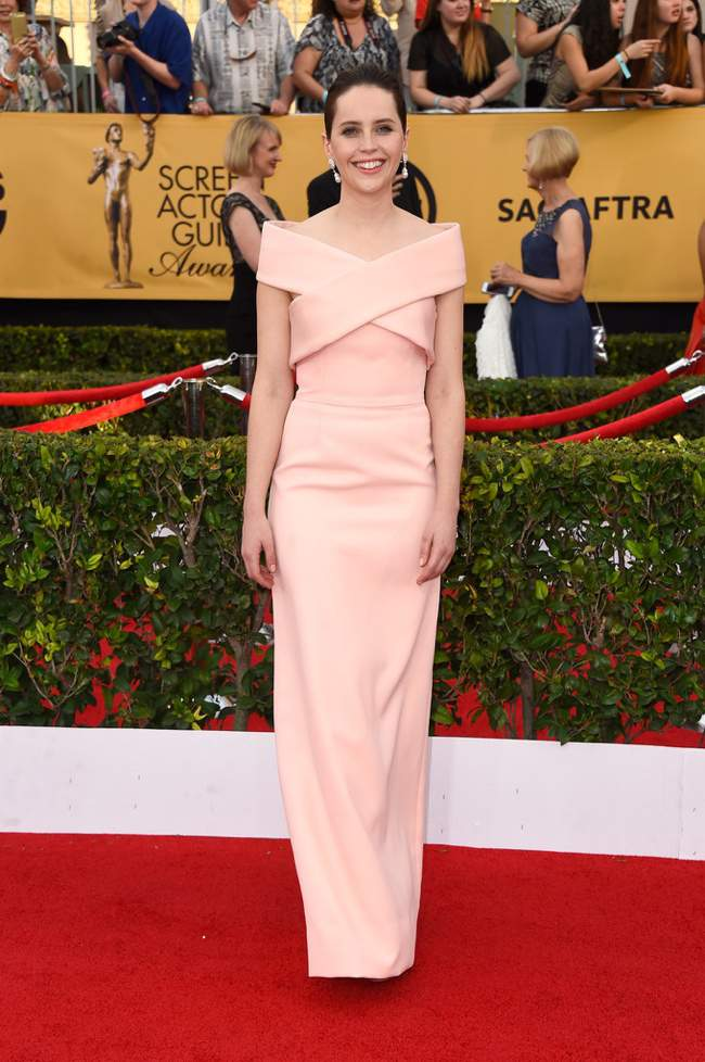 WTFSG-sag-awards-2015-felicity-jones-pink-balenciaga-dress