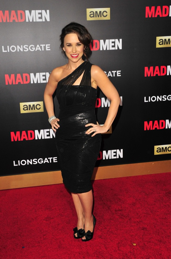 WTFSG_lacey-chabert-black-one-strap-dress