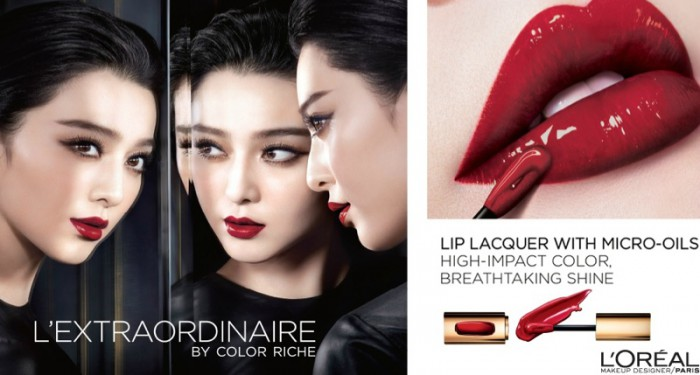Fan Bingbing wears a deep red lipstick shade in L'Oreal Paris L'Extraordinaire advertisement