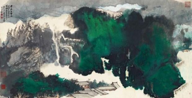 WTFSG_sothebys-hk_Zhang-Daqian_Ancient-Temple-in-the-Mist-1978
