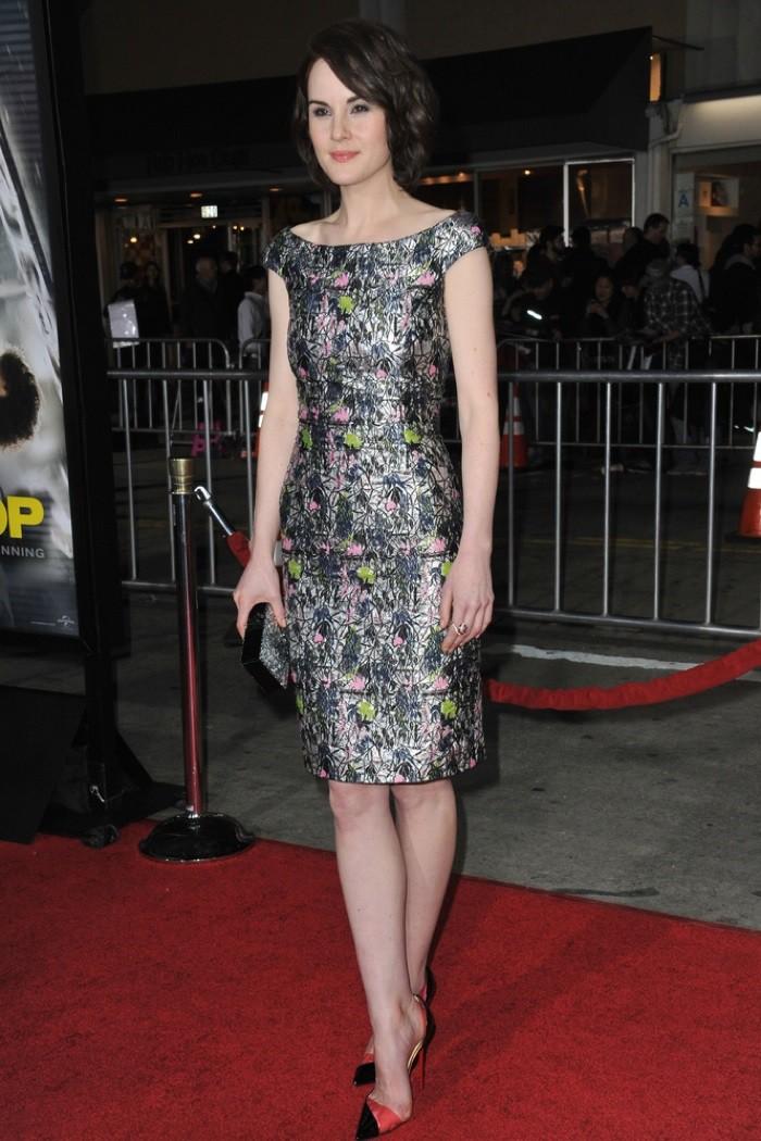 WTFSG_michelle-dockery-dior-metallic-floral-dress