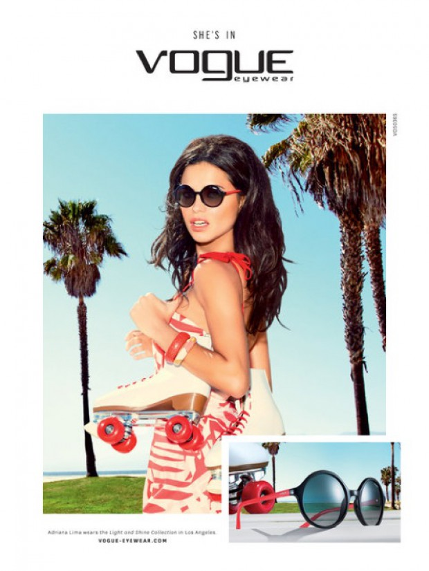 f459ffc6827 Adriana Lima is a California Girl in Vogue Eyewear s Spring Ads ...