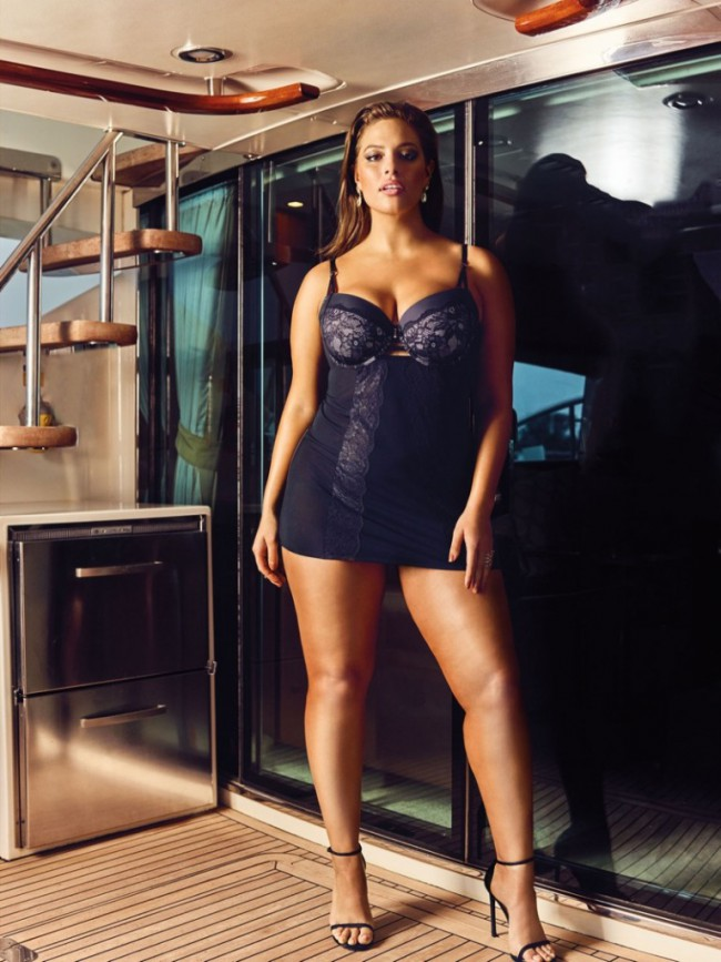 d301268cc29 Ashley Graham flaunts her curves in a white bodysuit with garters.  WTFSG Ashley-Graham-Addition-Elle-Bridal-Lingerie-2016 5