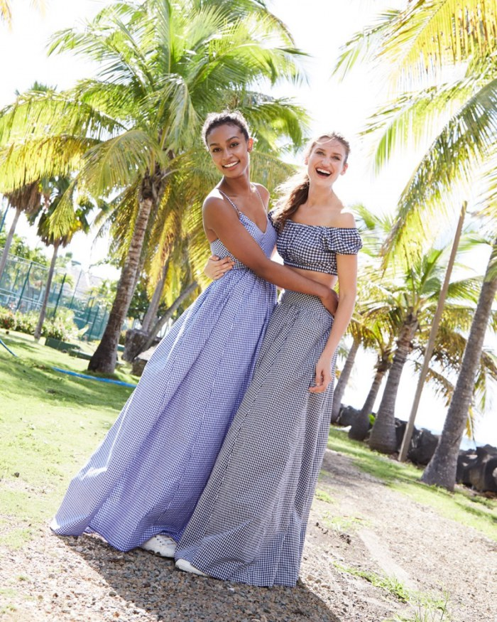 a90a32e06e (Left) J. Crew Long Spaghetti-Strap Dress in Gingham (Right) J. Crew  Gingham Off-the-Shoulder Swim Top and Ball Skirt in Gingham