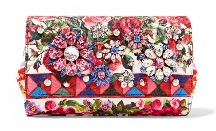 Dolce Gabbana Escape Anna Embellished Printed Brocade Shoulder Bag
