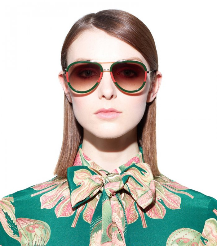 """Gucci Aviator Sunglasses with Black Frame  298 """"The black frames create  cool contrast against the gold-toned arms, while subtle GG branding on the  arms adds ... 8add2d8389c2"""