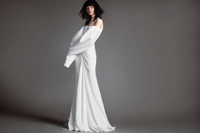 2325b116173 Delphine soft white crepe gown with pleated sleeves from Vera Wang Bridal s  spring 2018 collection