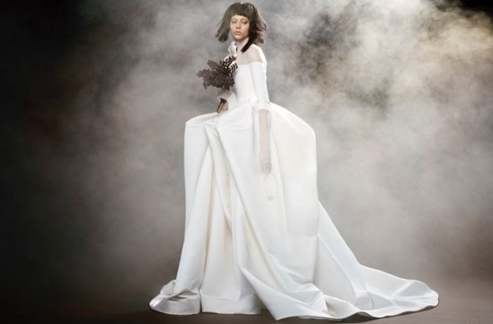 ef5c603d56cb6 Fantine light ivory off-the-shoulder silk faille gown with bodysuit from Vera  Wang Bridal's spring 2018 collection