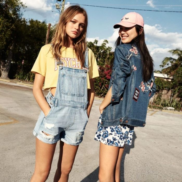 a6dcd6caefc (Left) H M Short T-Shirt and Denim Bib Overall Shorts (Right) H M  Embroidered Denim Jacket