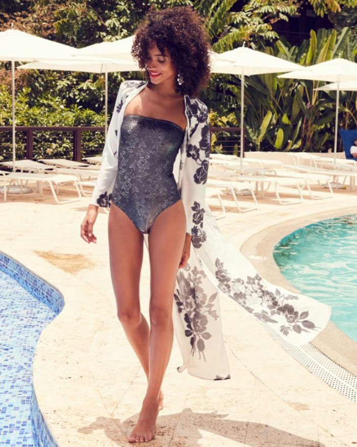 7ac233ffa5540 Marie France Van Damme Rose-Embroidered Silk Open Caftan Coverup and Rafia  Jacquard Bandeau One-Piece Swimsuit